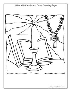 Bible Candle And Cross Coloring Page Kidscanhavefun