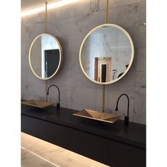 Just installed - hanging dual brass mirrors complete with recessed LED lighting #brassmirrors #welovebrass #fridaysatisfaction #powersurgenz