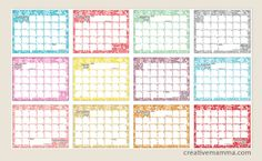 free printable doodle 2013 write-in calendar -- from Creative Mamma