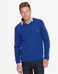 Joules RETFORD Mens Jumper, Blue. If you haven't (or even if you have!) got a v neck jumper in your wardrobe, we suggest you get your hands on this knit. Perfect for eliminating a chill in style.