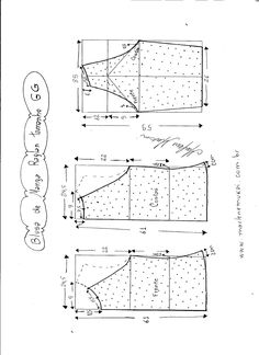 Esquema de modelagem de blusa de malha de manga raglan tamanho GG.