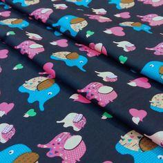 Tissu éléphants bébé 25x140cm , rose , bleu , fond bleu marine