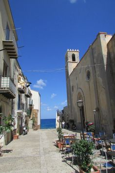 Streets of Cefalu overlooking the Tyrrhenian Sea Sicily Italy