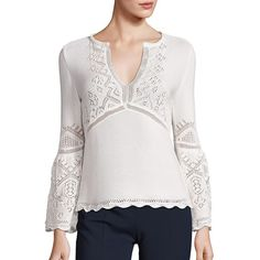 Alberta Ferretti Long Sleeve V-Neck Blouse ($590) ❤ liked on Polyvore featuring tops, blouses, apparel & accessories, white cotton blouse, white long sleeve top, v neck blouse, sweater pullover and embellished tops