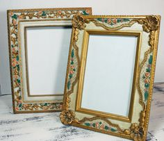 Your place to buy and sell all things handmade Shabby Chic Picture Frames, Old Picture Frames, Old Frames, Resin Material, Rococo Style, Vintage Shabby Chic, Fashion Pictures, Carving, Floral