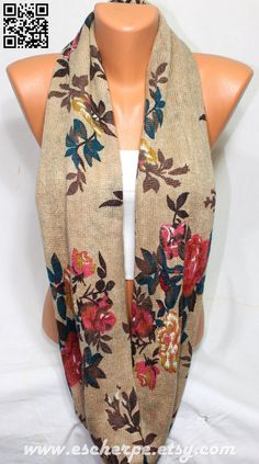 Floral Print Camel Knit Fabric Infinity Scarf Loop by escherpe