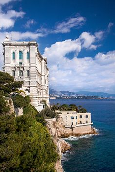 The Oceanographic Museum in Monaco towers above the Mediterranean and the surrounding city.
