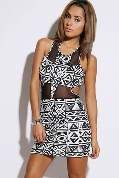 #1015store.com #fashion #style black/white ethnic printed cut out mesh inset fitted clubbing mini dress