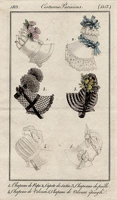 1813. Future bonnet will be made kind of like the left middle one, except in pink and black stripes