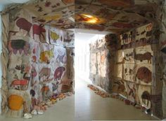 Cave Art Hall--A great way to teach Lascaux and cave paintings Art Lessons For Kids, Art Lessons Elementary, Art For Kids, Kids Work, Stone Age Art, Classe D'art, Lascaux, Cave Drawings, Collaborative Art