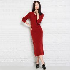 >> Click to Buy << Women Fashion Autumn Dresses Sexy Slim Dress V-neck Long Sleeve Mid-calf Dress Cashmere Vestidos De Festa #Affiliate