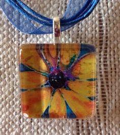 Sunflower Altered Art Flower Glass Tile Pendant Ribbon Mother's Day Gift