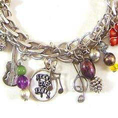 ROCK N ROLL Charm Bracelet. $25.00, via Etsy.