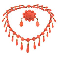 Victorian c1900 Coral and Yellow Gold Necklace Earrings Pin / Brooch Set | From a unique collection of vintage more necklaces at https://www.1stdibs.com/jewelry/necklaces/more-necklaces/
