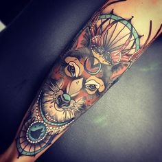Amazing new school fox tattoo #tattoos