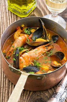 Combine clam, lobster + fish to make the classic French dish, Bouillabaisse.