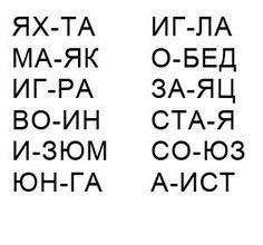 Слова из 4 букв и 2 слогов