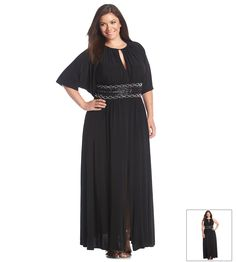 R&M Richards® Plus Size Keyhole Beaded Waist Gown With Shrug
