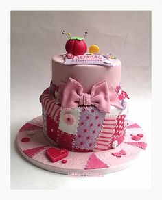 Patchwork and buttons cake - by LittleDzines @ CakesDecor.com - cake decorating website