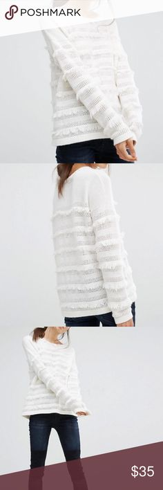 French Connection fashion sweater ❄️❄️❄️ Stylish and fashiony sweater with fringe and pointelle detail. Perfect for the coming winter weather ❄️❄️❄️ French Connection Sweaters Crew & Scoop Necks