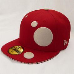 Mushroom New Era 59FIFTY Baseball Cap (White on Red)