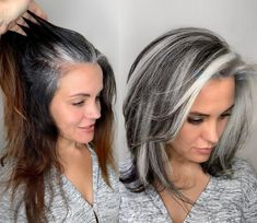Medium Hair Styles, Curly Hair Styles, Natural Hair Styles, Grey Hair Natural, Natural Hair Blowout, Hair Medium, Medium Long, Grey Hair Transformation, Silver Hair Highlights