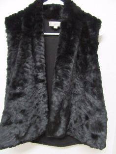 Ann Taylor Loft Black Faux Fur Vest w/ Black & White Houndstooth Back Sz XS New #AnnTaylorLOFT