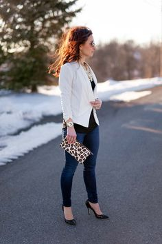 Ivory jacket and leopard Tory Burch clutch on Lipgloss & Labels