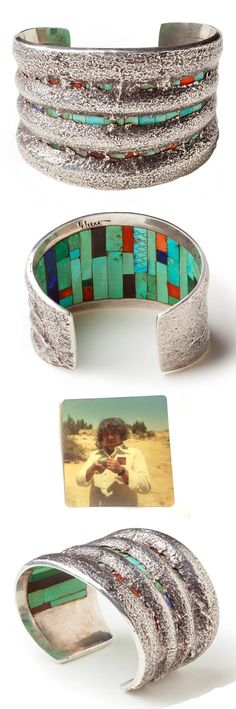 Charles Loloma | Tufa cast silver cuff with turquoise, lapis, malachite, spondylus shell and ironwood inlay.  ca. 1970 | POR