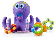 Nuby Bathtime Fun Bath Toys, Octopus Hoopla, Purple -   - http://www.toyrange.com/toys-games/baby-toddler-toys/bath-toys/nuby-bathtime-fun-bath-toys-octopus-hoopla-purple-com/