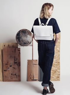 Large White Leather Popper Rucksack by Kate Sheridan / Bags / Backpacks | Young British Designers