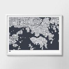 Bold & Noble Hong Kong Type Map Print - Slate - Bold & Noble from eggcup & blanket UK