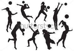 Vector. Siluetas de voleibol de playa femenino.