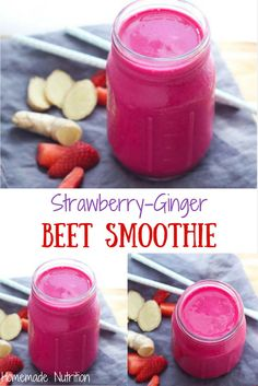 This ruby red smoothie has a beautiful flavor combination of strawberries and ginger that accent the beets in this recipe. It's a great way to get more veggies into your breakfast routine! Zucchini Smoothie, Beet Smoothie, Yogurt Smoothies, Yummy Smoothies, Smoothie Recipes, Juice Recipes, Red Juice Recipe, Chocolate Peanut Butter Smoothie, Beets