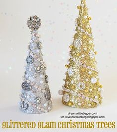iLoveToCreate Blog: Glittered Glam Christmas Trees