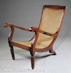 Caribbean Hardwood and Caned Planter's Chair : Lot 161 Colonial Chair, Colonial Furniture, Guy Fashion, Furnitures, Jun, Caribbean, Hardwood, Armchair, Planters