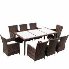 Rattan Table  Chair Set Garden Patio 8 Seat Outdoor Dining Furniture Set