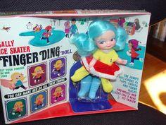 1969 Remco SALLY ICE SKATER Finger Ding Puppet Doll