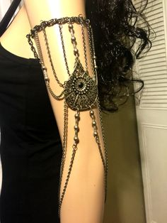 Armlet. Leglet. Arm Chain. Leg Chain. Upper Arm Bracelet. Metal. Charcoal Tone. Body Jewelry. Armband. Leg Jewelry. FREE SHIPPING
