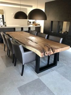 Wooden Dining Table Designs, Wood Table Design, Dining Room Table Decor, Wooden Dining Tables, Dining Room Sets, Dining Room Design, Living Room Decor, Rustic Wood Tables, Esstisch Design