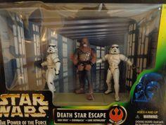 1997 Stars Wars Kenner POTF Death Star Escape Han Luke Chewbacca Figures Set #Kenner