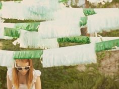 A Summer Fiesta on Design*Sponge - Once Wed Wedding Blog, Diy Wedding, Wedding Ideas, Wedding Bunting, Tissue Paper Garlands, Paper Bunting, Diy Girlande, Once Wed, Photo Booth Backdrop