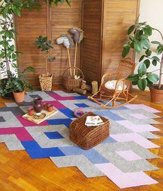 PURPLE DIAMOND handmade modular rug carpet with recycled materials, by caraWonga Purple Diamond, Geometric Rug, Rugs On Carpet, Carpets, Handmade Decorations, Recycled Materials, 3 D, Bohemian Rug, Recycling