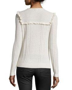 TCSMA Joie Flor Ruffle-Trim Cable-Knit Sweater