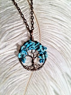 Petite Turquoise Tree Of Life Necklace Copper Wire Wrapped Trunk Hand Hammered Pendant Gemstone Jewelry December Birthstone