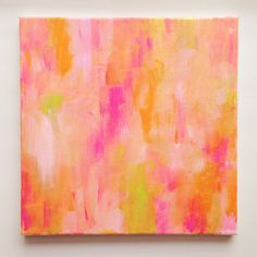 """citrus 12""""x12"""" abstract glitter painting"""