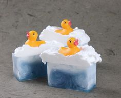 Learn how to create adorable Rubber Ducky Soap in this step by step tutorial. Rubber duckies are placed on top of each bar, making them great for bath time!