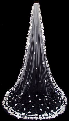 Cathedral Length Wedding Veil (110 inch) with Silk Flowers, Scattered Swarovski Crystals, White or Ivory Bridal Veil, Style 1019 'Sunny'. $900.00, via Etsy.