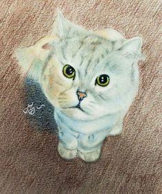 天氣好涼啊~ 帶我出去兜風好嗎? #art #illustration #color #painting #cat #chinchilla