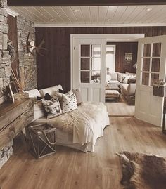 Rustic Home by - Architecture and Home Decor - Bedroom - Bathroom - Kitchen And Living Room Interior Design Decorating Ideas - Cabin Interiors, Rustic Interiors, Farmhouse Master Bedroom, Farmhouse Stairs, Log Homes, Interior Design Living Room, Interior Livingroom, Home Furniture, Rustic Furniture